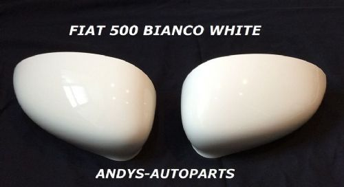 FIAT 500 2007 ONWARDS WING MIRROR COVER PAIR IN BIANCO WHITE. COLOUR CODE 268